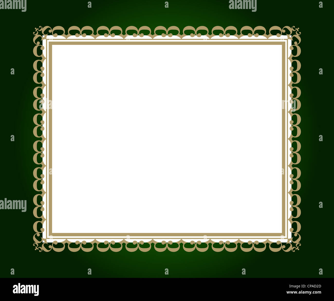 Artistic frame on green with white border Stock Photo
