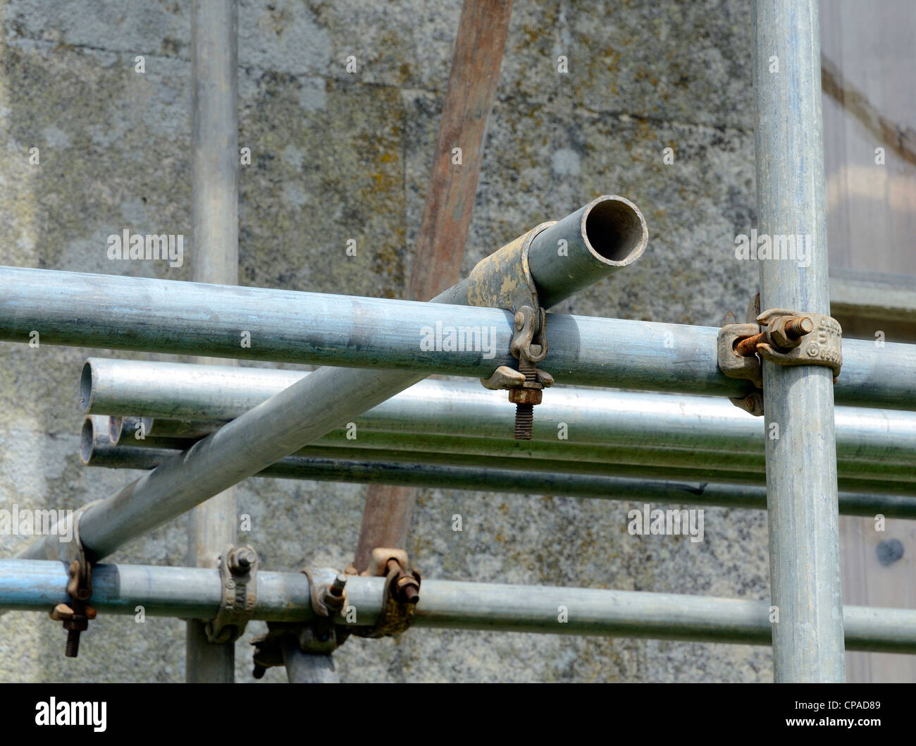 a close up of scaffolding fixing joints - Stock Image