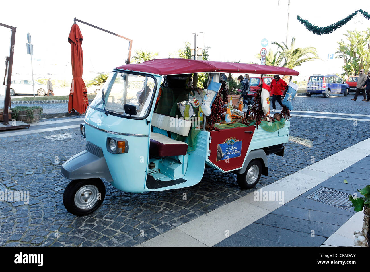 Ape Car full of Typical Food product of Ischia Island, Campania, Italy - Stock Image