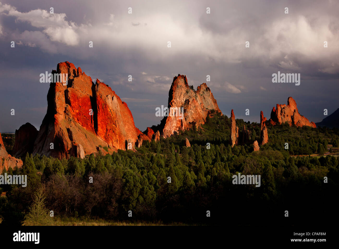 USA, Colorado, Garden of the Gods. Sunset light on sandstone formations.  Credit as - Stock Image