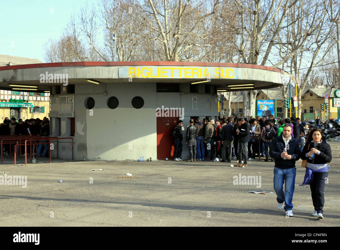 The outside ticket box of San Siro Stadium in Milan Stock Photo