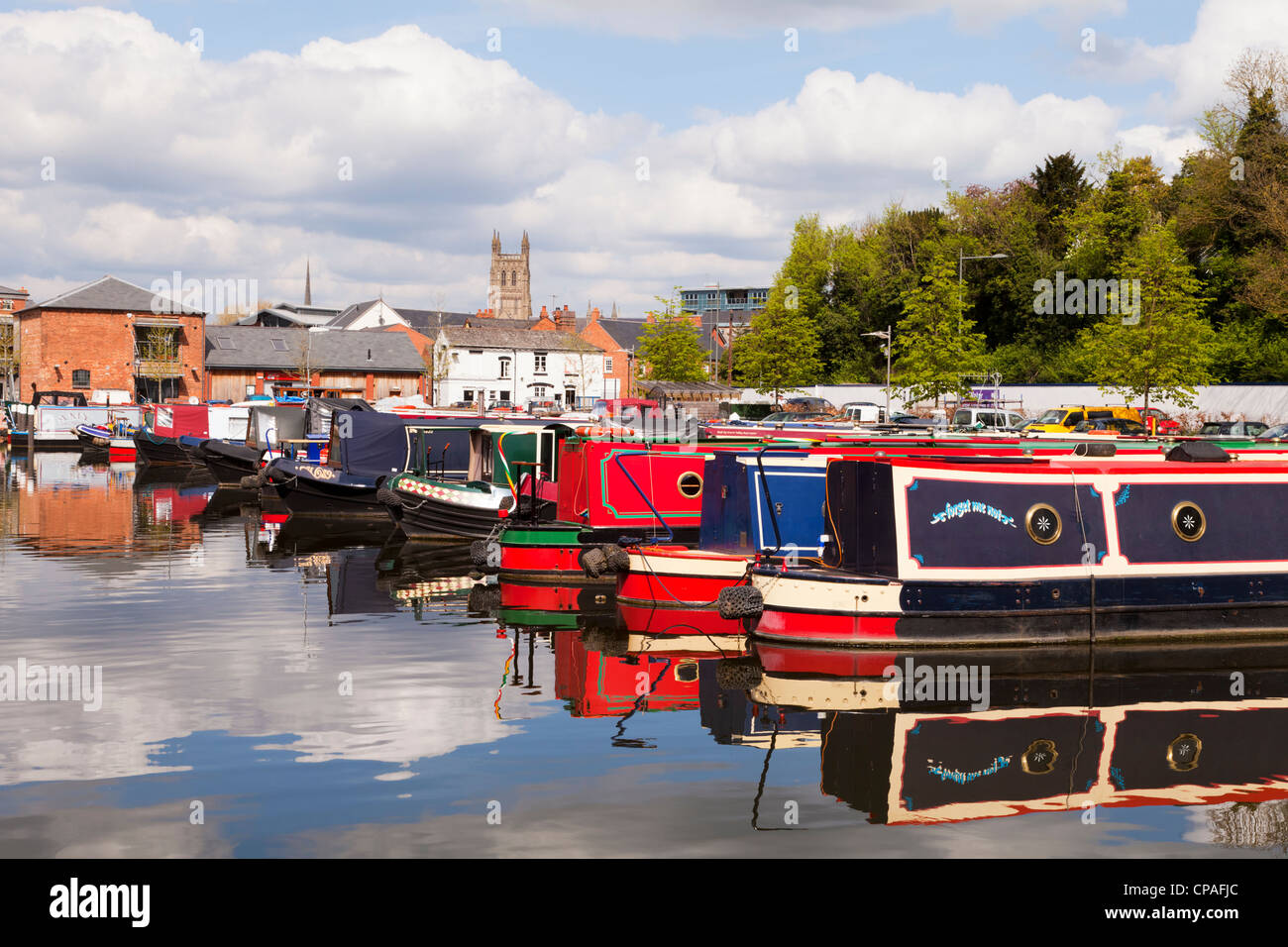 Narrowboats at Diglis Basin, Worcester, England, at the southern end of the Worcester Birmingham Canal, - Stock Image
