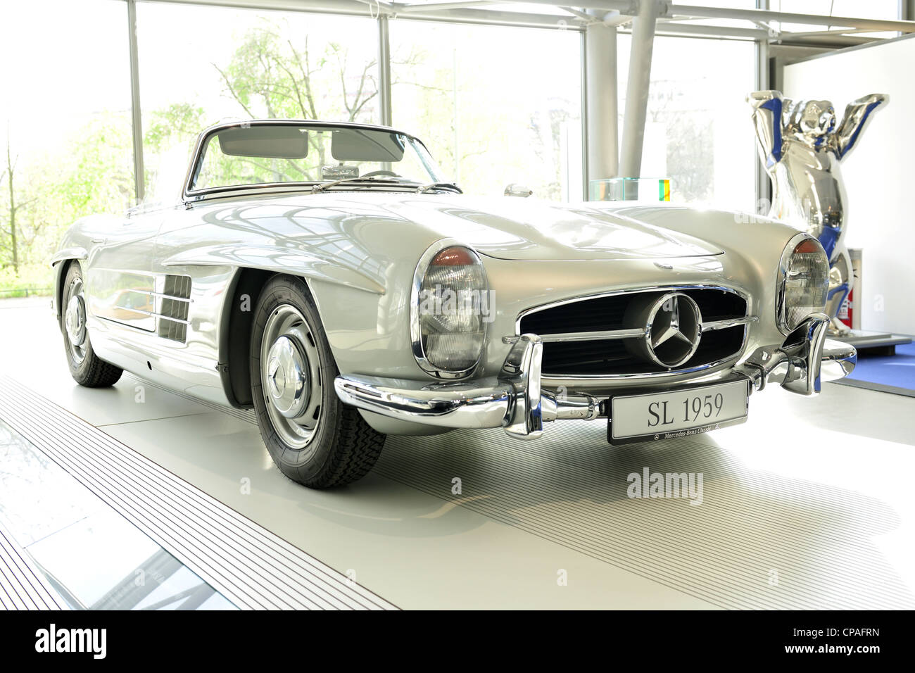 cabrio classic mercedes benz old timer slk stock photo. Black Bedroom Furniture Sets. Home Design Ideas