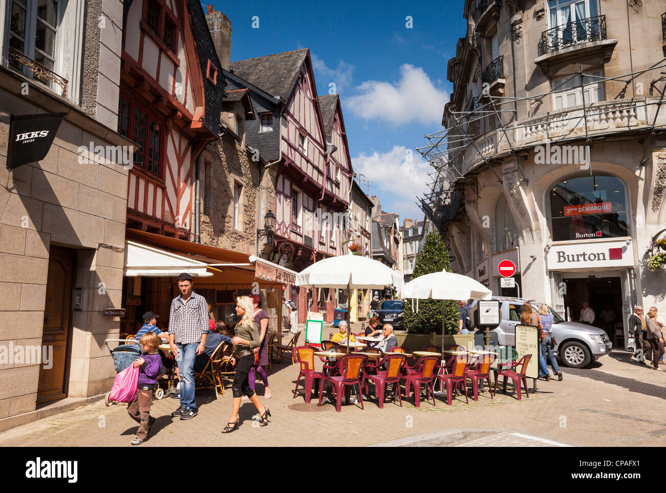Street scene in the old city of Vannes, Brittany, France. - Stock Image