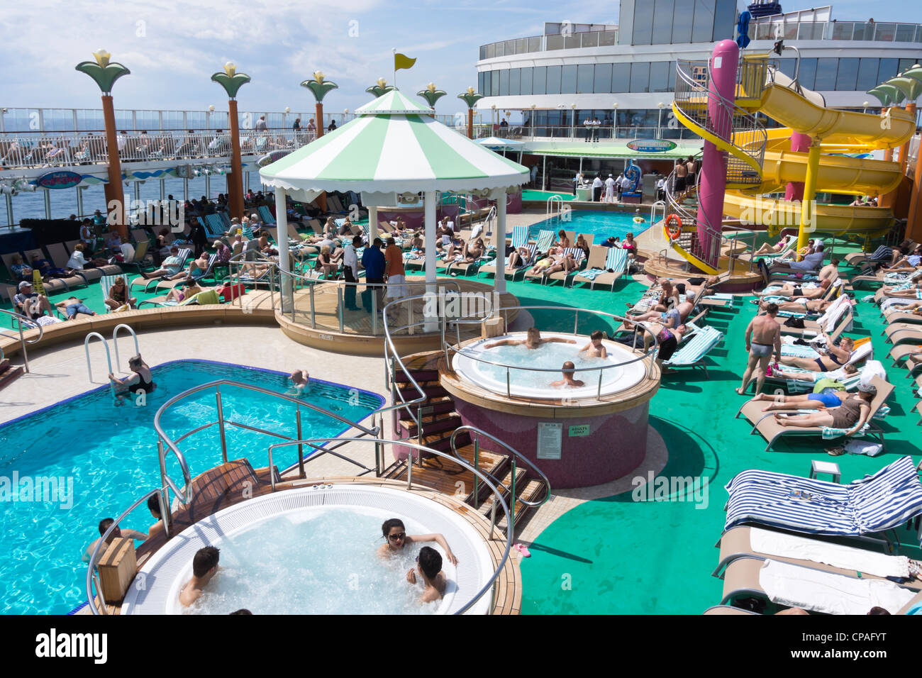 Norwegian jade cruise ship swimming pool stock photo 48175228 alamy for River cruise ships with swimming pool