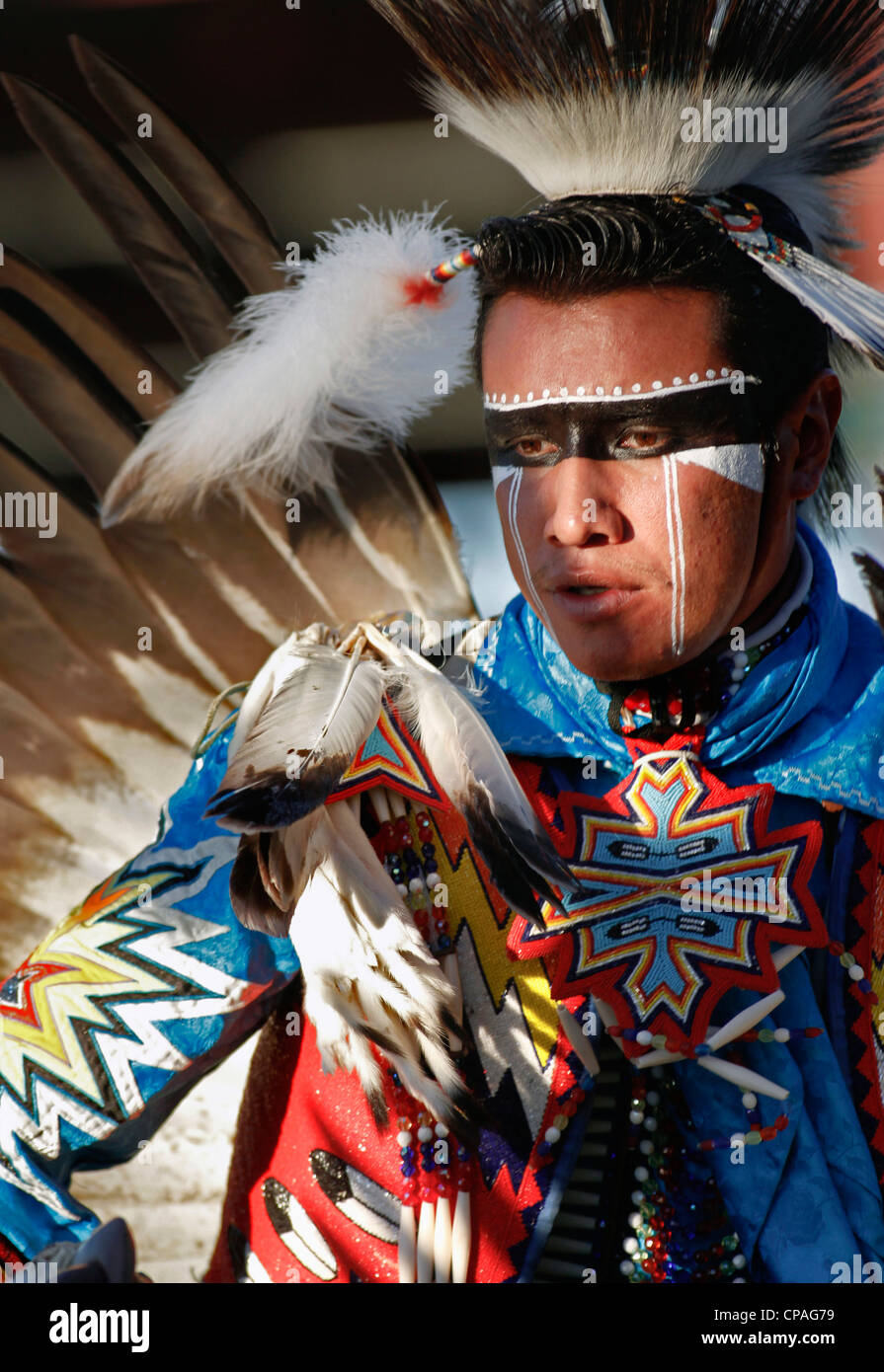 USA, Idaho, Fort Hall. Participant in the powwows held during the annual Shoshone-Bannock Festival - Stock Image