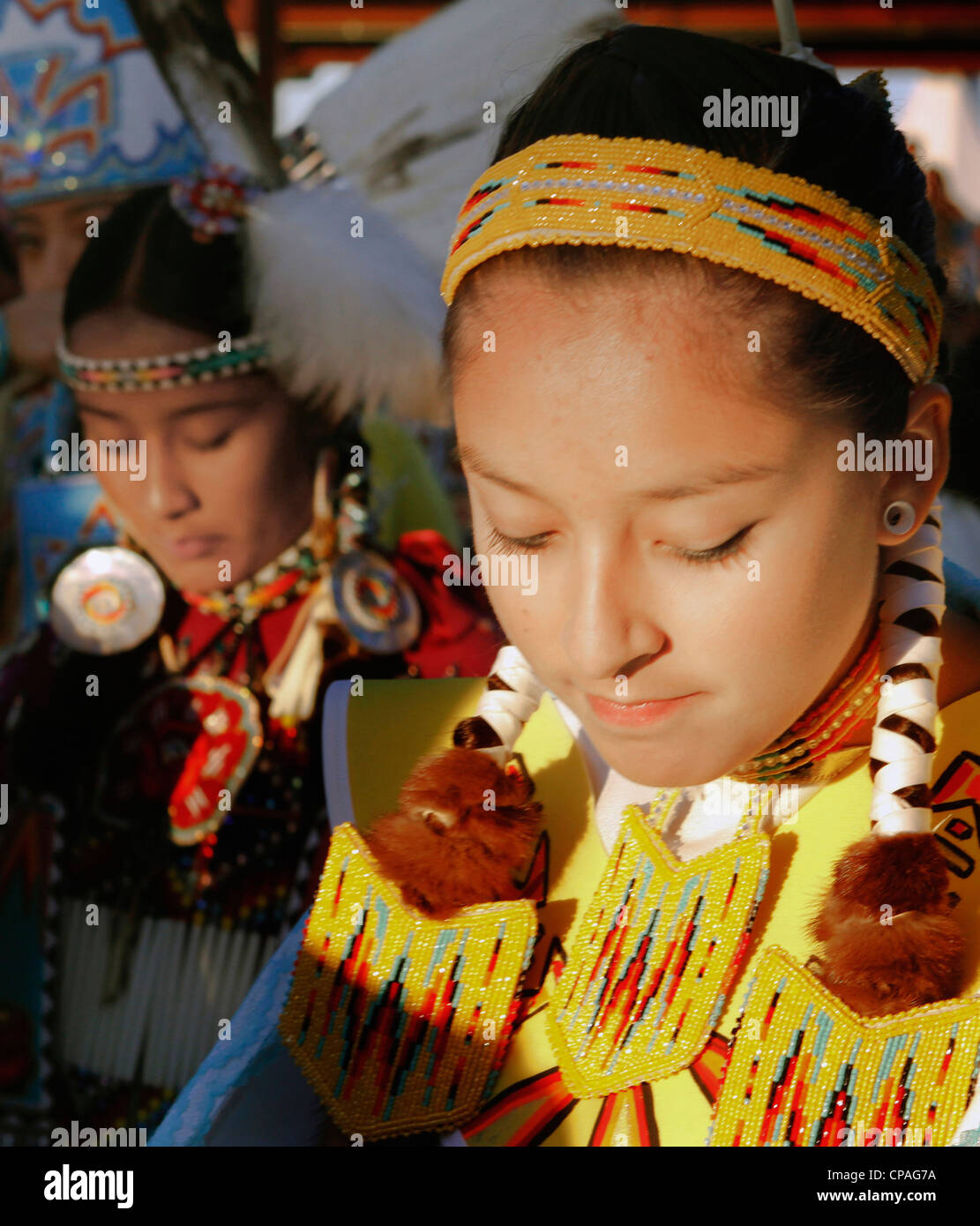 USA, Idaho, Fort Hall. Participants in the powwows, annual Shoshone-Bannock Festival, Fort Hall reservation, Idaho - Stock Image