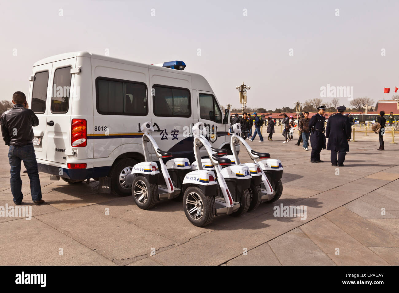 Police T-Robot self-balancing scooters in Tiananmen Square, Beijing, China, - Stock Image