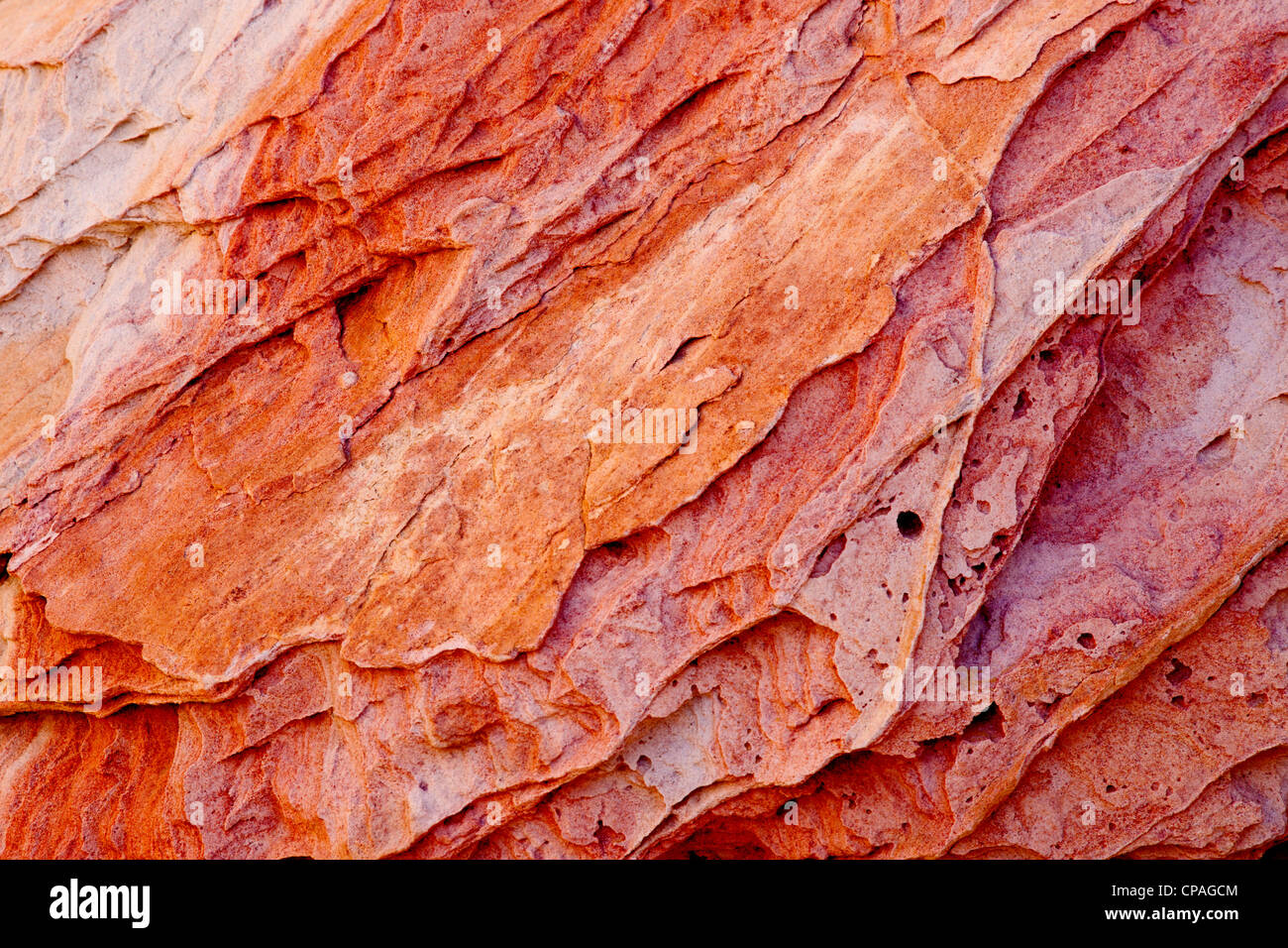 USA, Nevada, Valley of Fire State Park. Layers of multi-hued sandstone.  Credit as - Stock Image