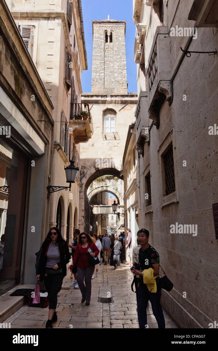 Split, Dalmatian coast of Croatia - Diocletian's Palace, old walled heart of city. Narrow sreet. - Stock Image