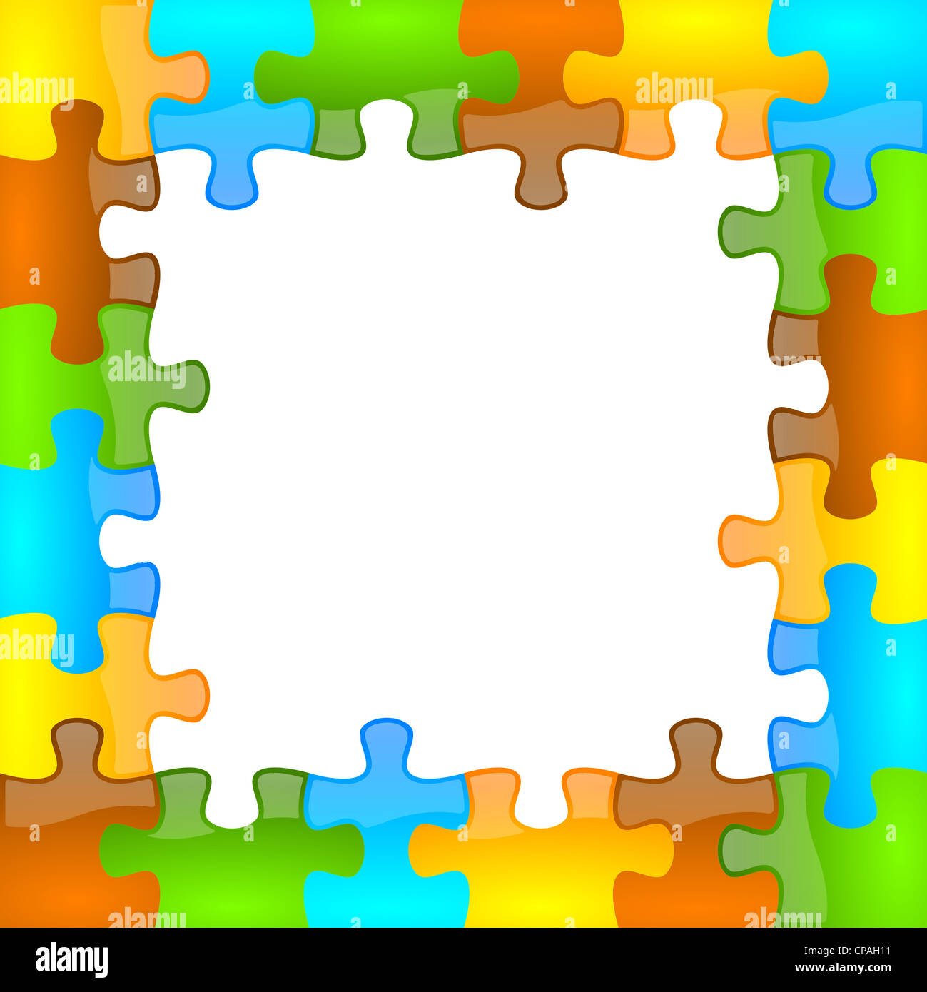 colored and jazzy puzzle frame background 6 x 6 format stock image