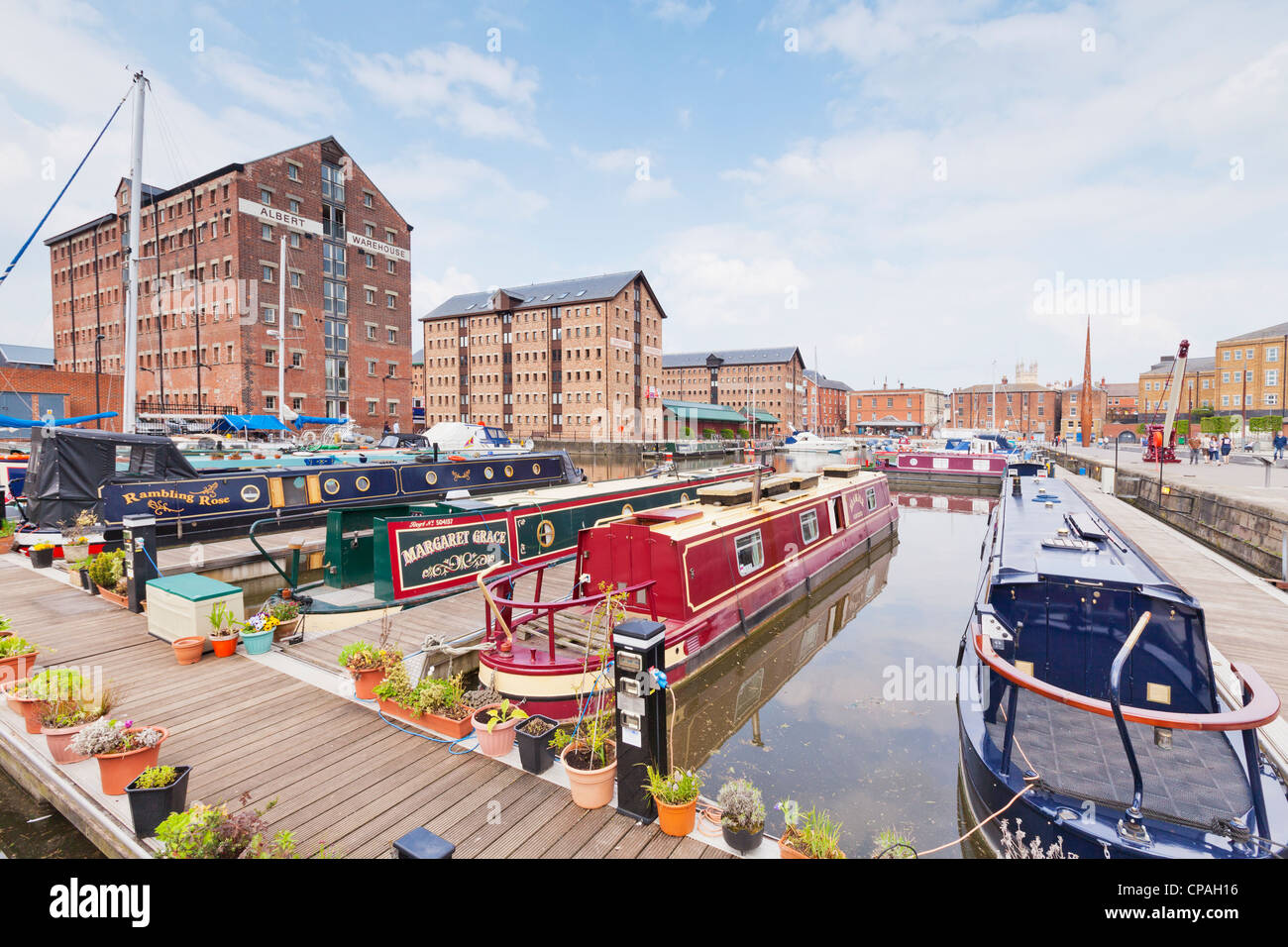 The Victoria Basin at the restored Gloucester Docks. - Stock Image