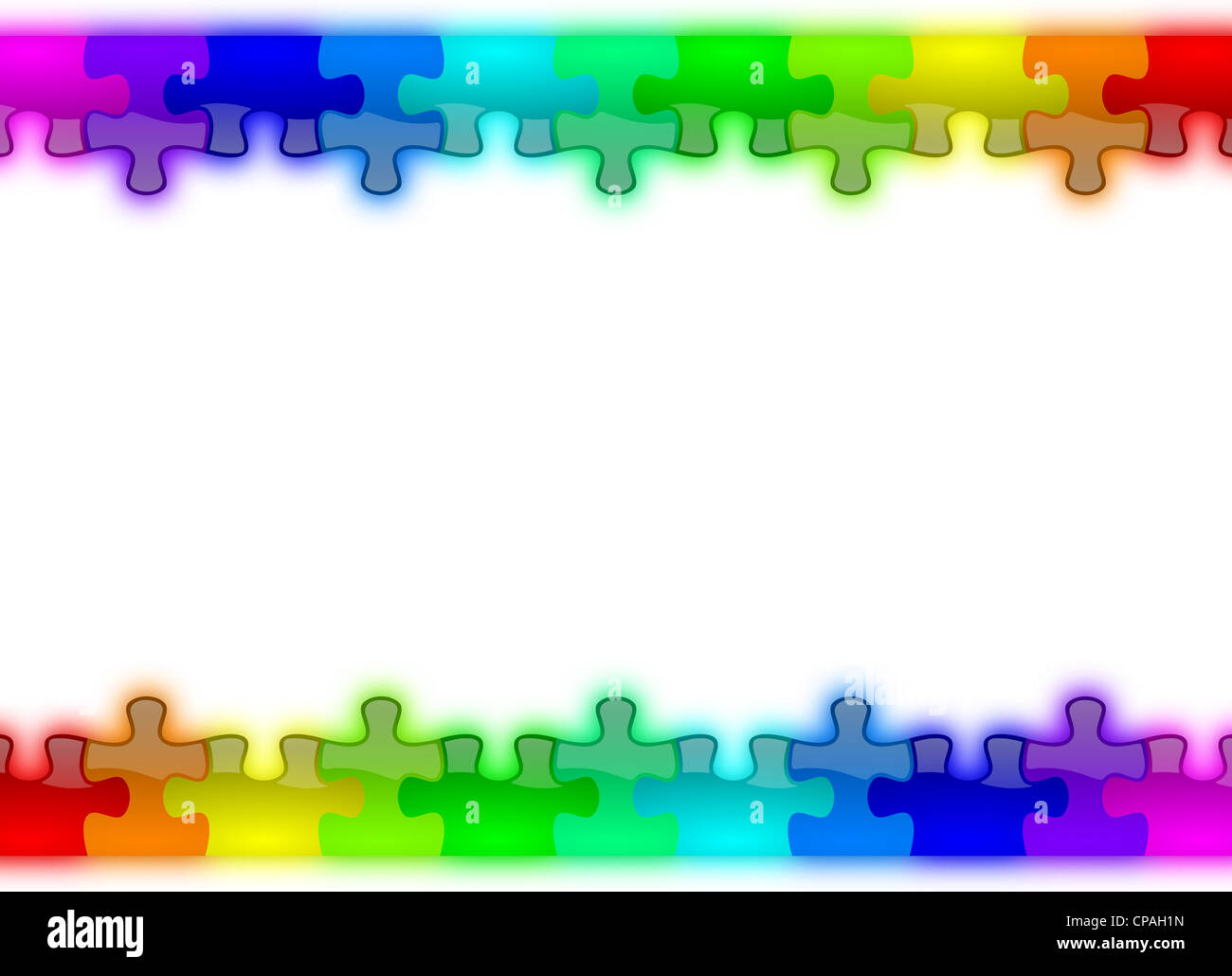 Color rainbow puzzle pieces background - Stock Image