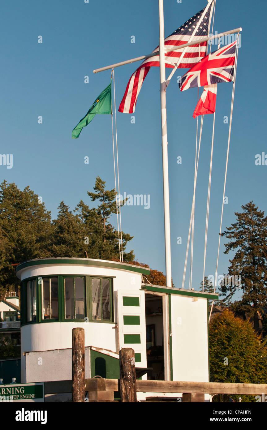 USA, WA, San Juan Islands. Harbormaster vantage point in Friday Harbor. - Stock Image