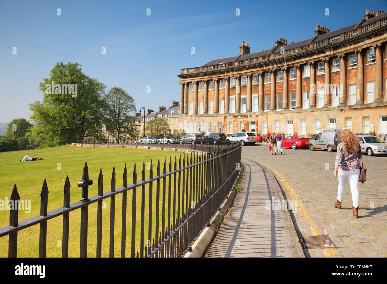 Royal Crescent in Bath, one of the city's great landmarks. - Stock Image