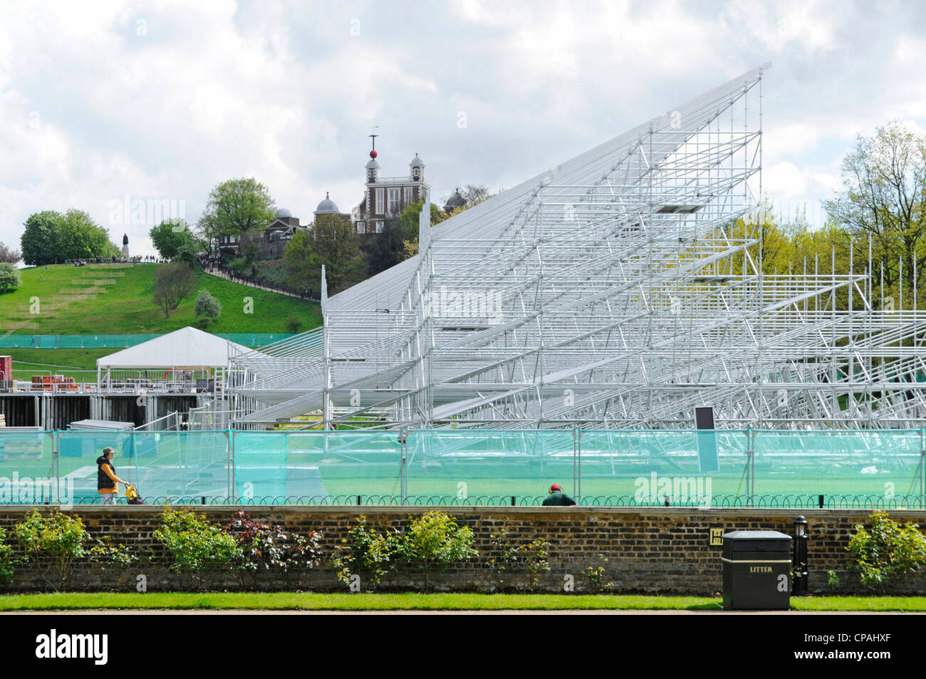 Greenwich Park temporary seating scaffolding being erected at Equestrian 2012 London summer Olympics arena Observatory - Stock Image