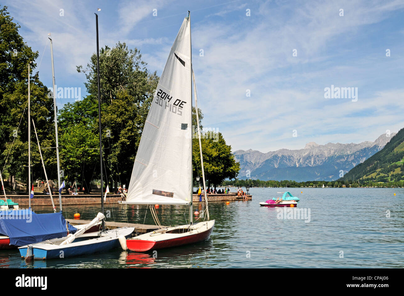 View from Zell am See to the lake with watersport activities Stock Photo