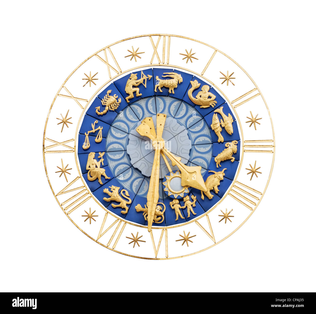 Medieval clock with gilt Roman numerals and Zodiac signs isolated on white background, Altes Rathaus, Bavaria, Munich - Stock Image