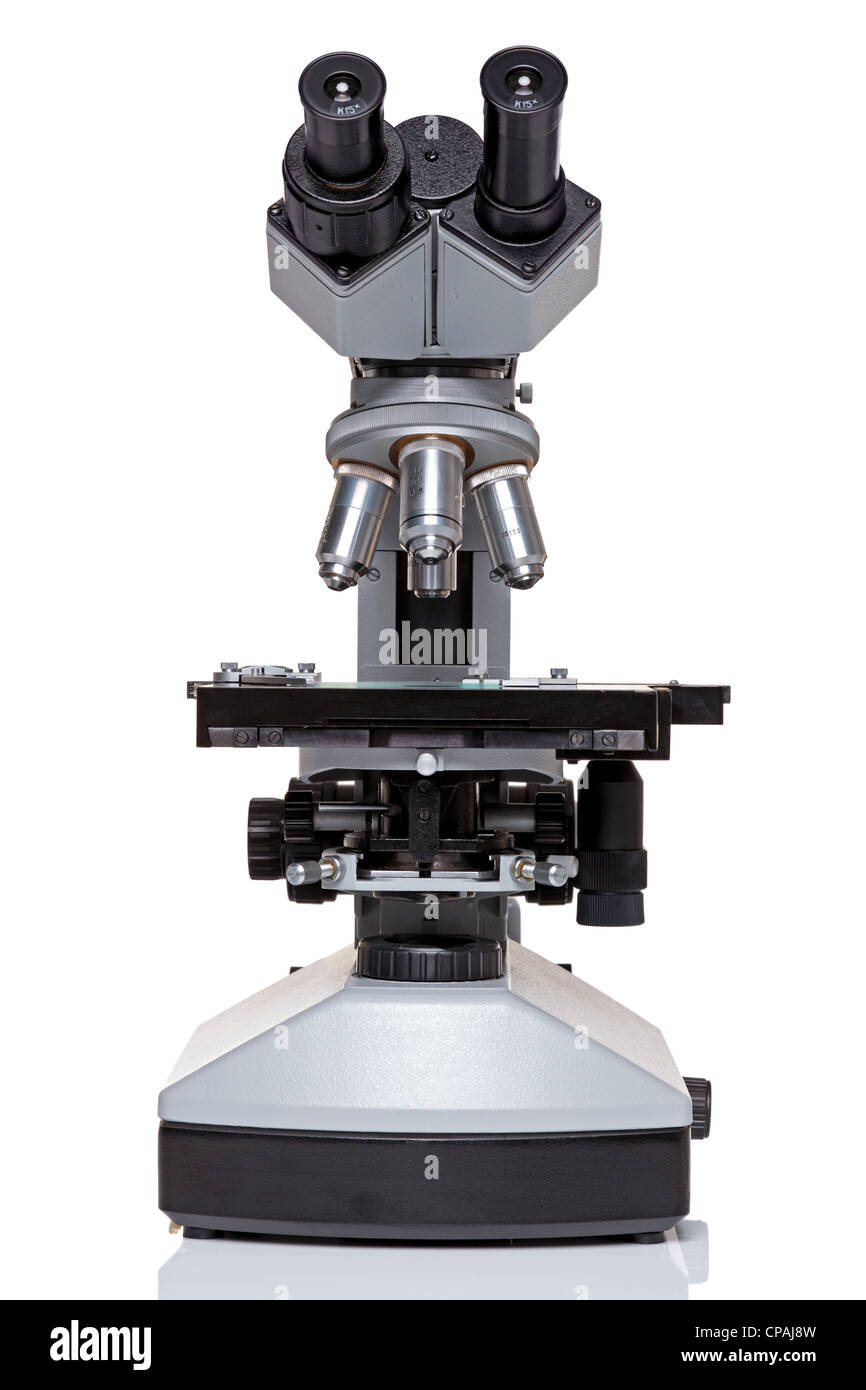 Photo of a professional ocular laboratory microscope with stereo eyepiece isolated on a white background. - Stock Image