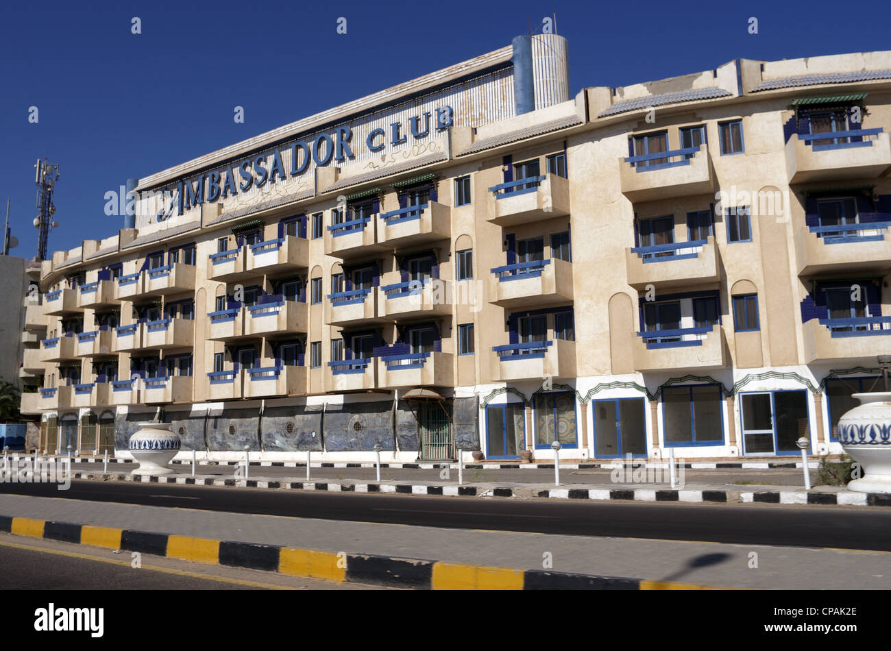Tourist resort hotel Ambassador club in Hurghada, Egypt, Red Sea, Africa - Stock Image