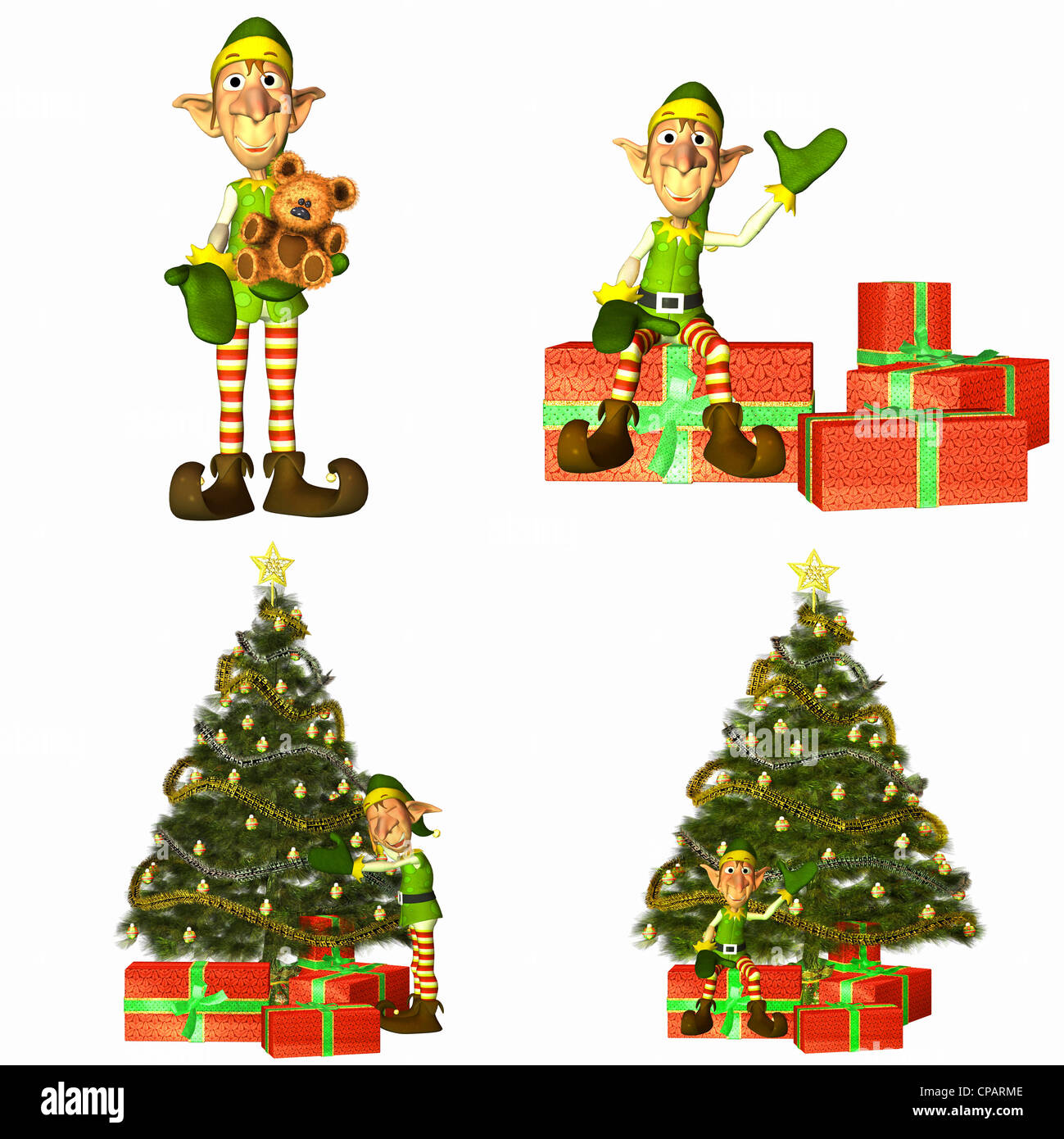Illustration of a pack of four (4) christmas elves with trees and ...