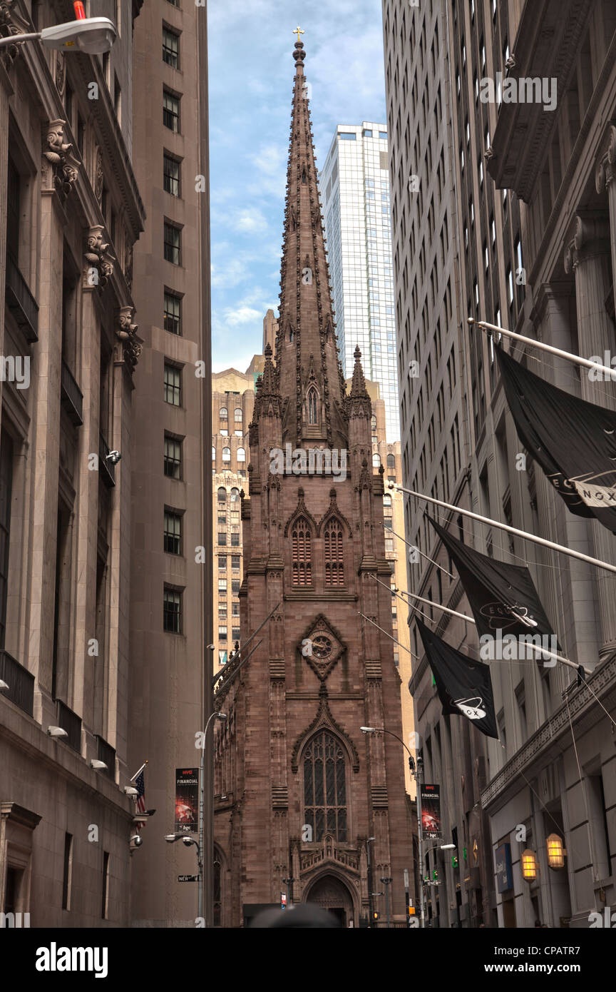 Trinity church at 79 Broadway near Wall Street in Manhattan, New York City - Stock Image