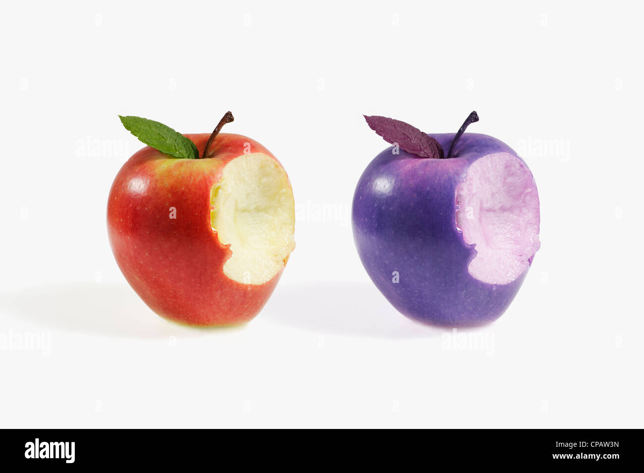 comparative between two different apples - Stock Image