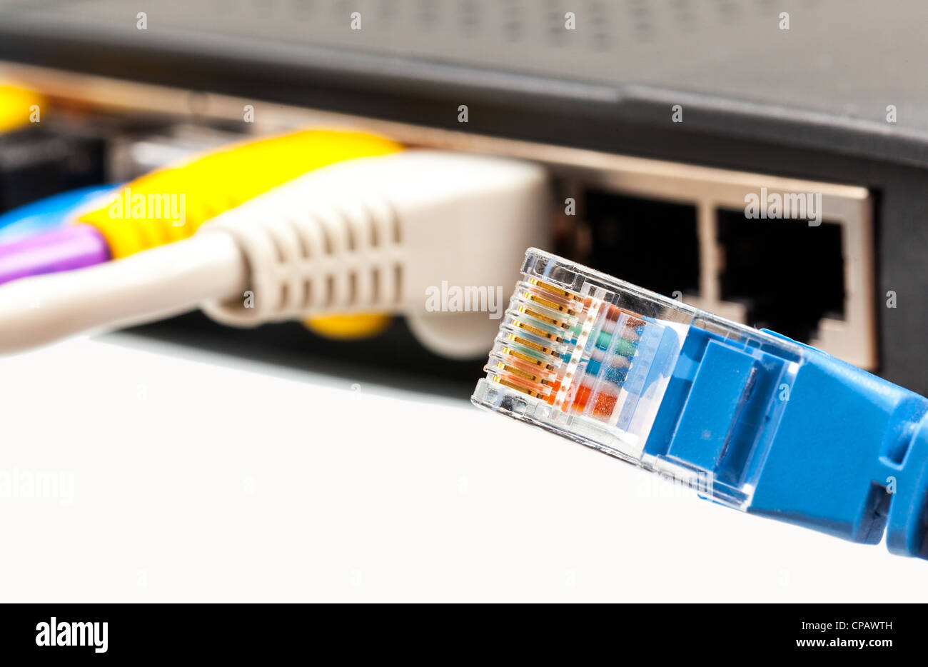 Disconnected Cable Stock Photos Images Cat5 Network And Computer Cables Patch Cat5e Single Blue Loose From Internet Router Or Technology Switch Image