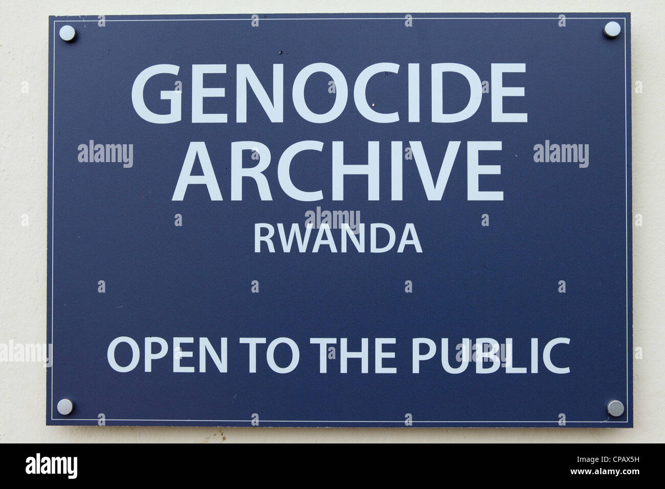 Sign for the Genocide Archive at the Kigali Memorial Centre at Kigali, Rwanda. - Stock Image