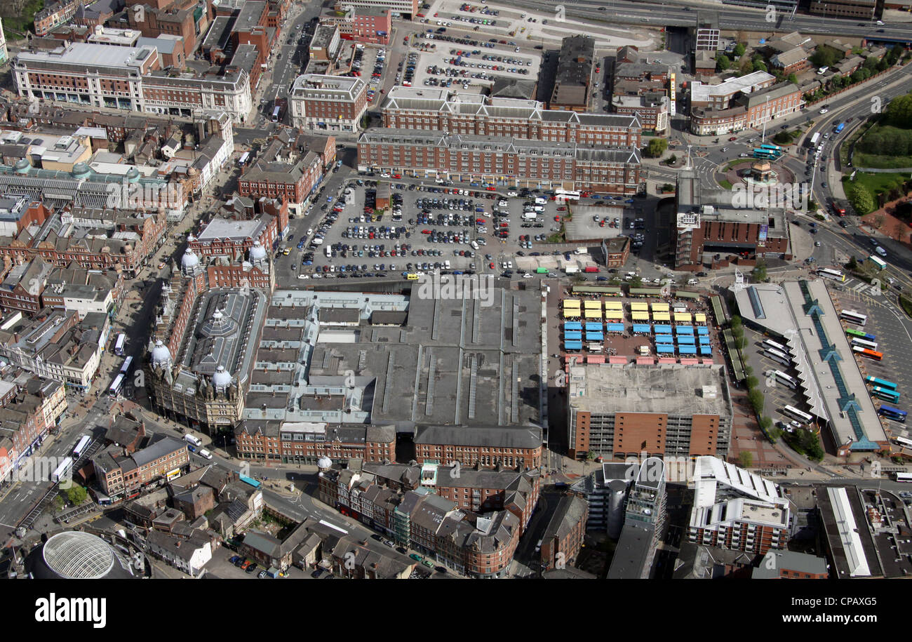 aerial view of Leeds Markets area from over Kirkgate, Leeds City Centre - Stock Image