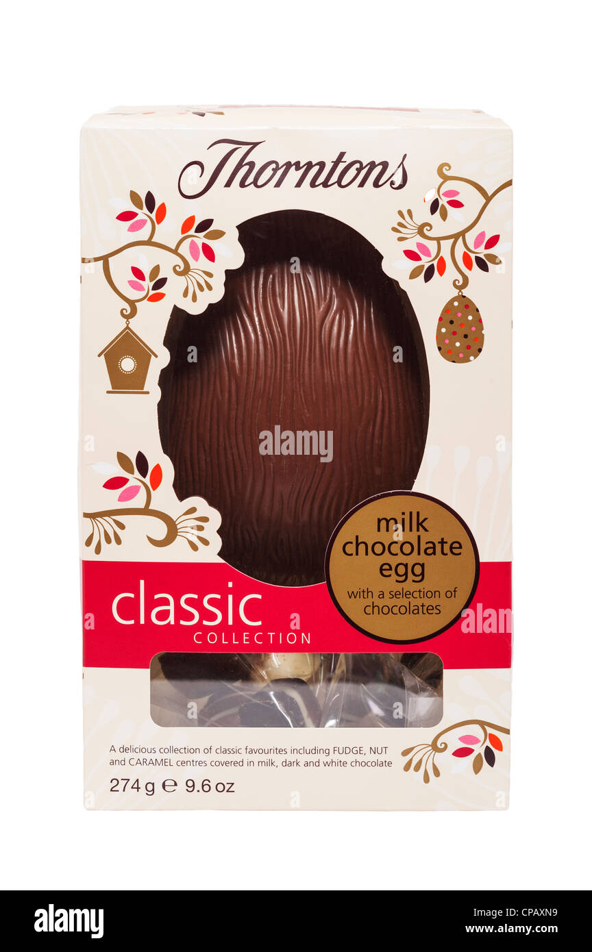 A Thorntons milk chocolate Easter egg on a white background - Stock Image