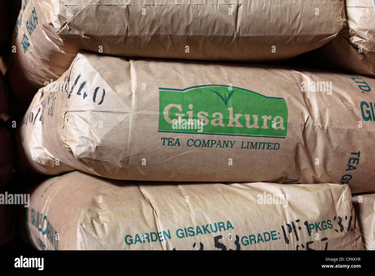 Sacks of tea in the storehouse following the completion of the tea production process at the Gisakura Tea Factory - Stock Image