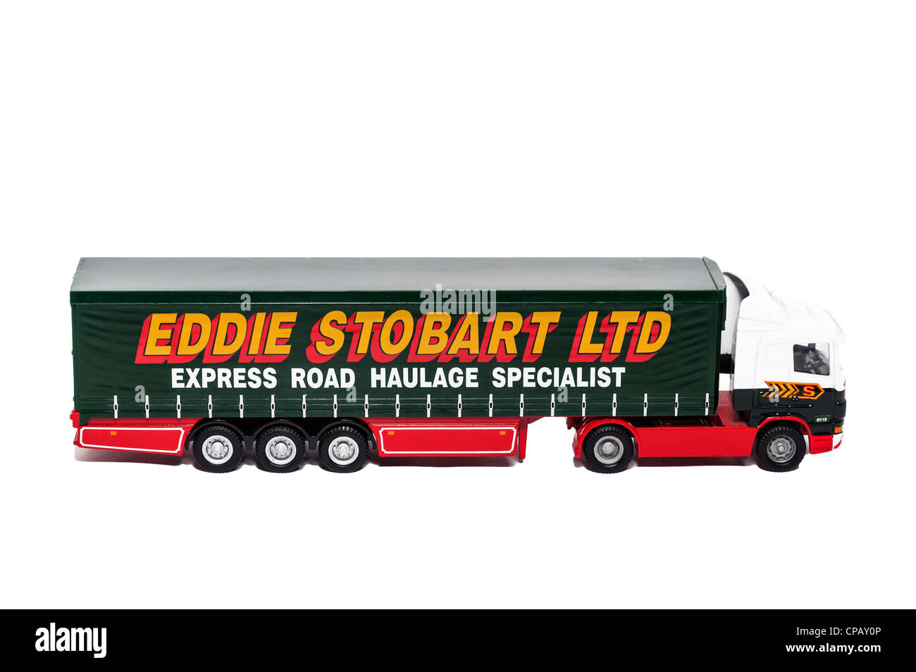 A model Eddie Stobart lorry on a white background Stock Photo