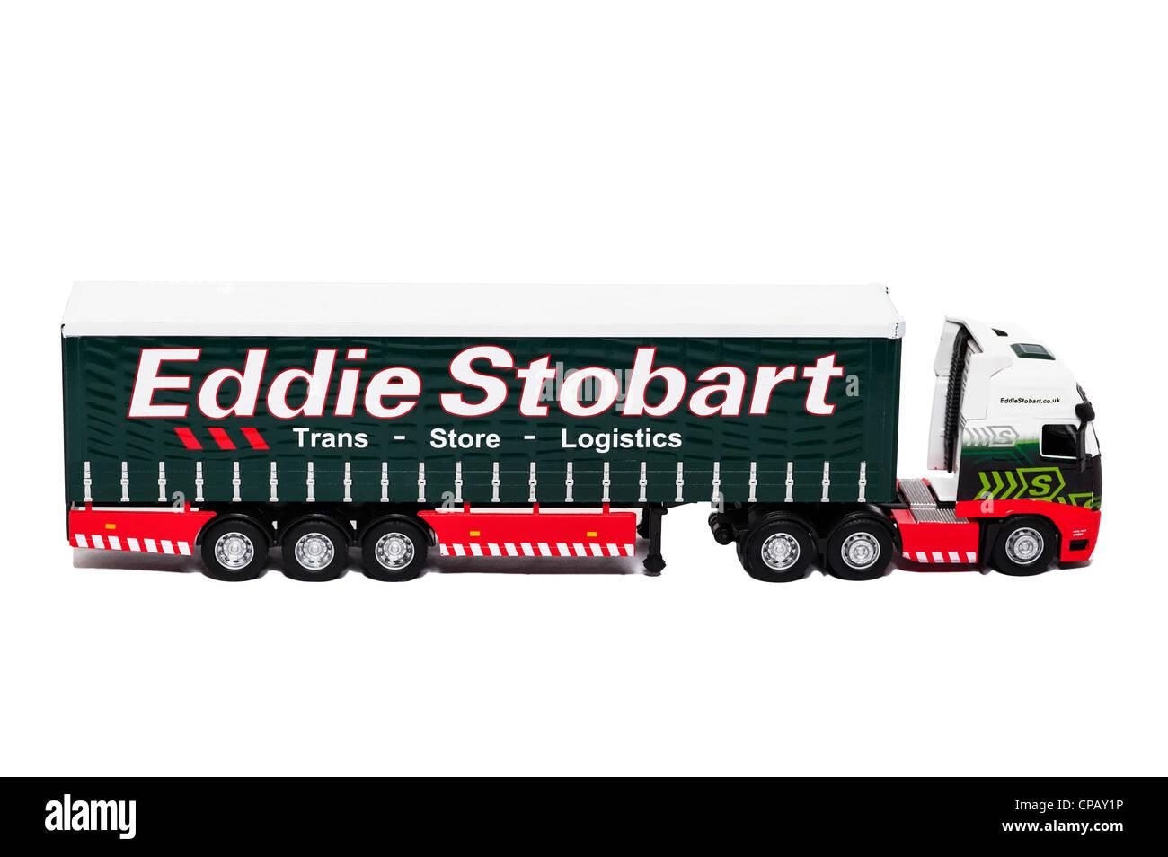 A model Eddie Stobart lorry on a white background Stock Photo