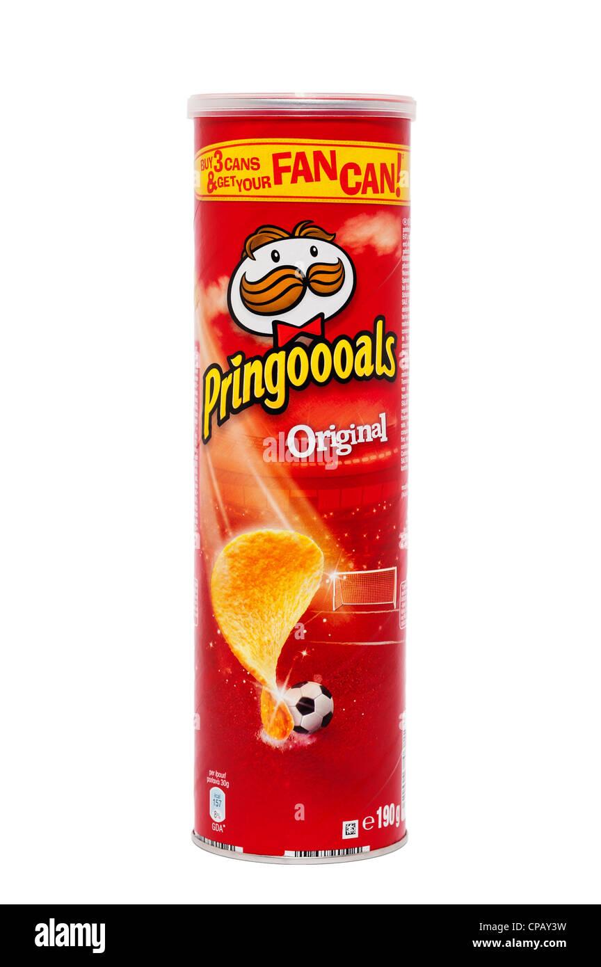 A tube of original Pringles crisps on a white background - Stock Image