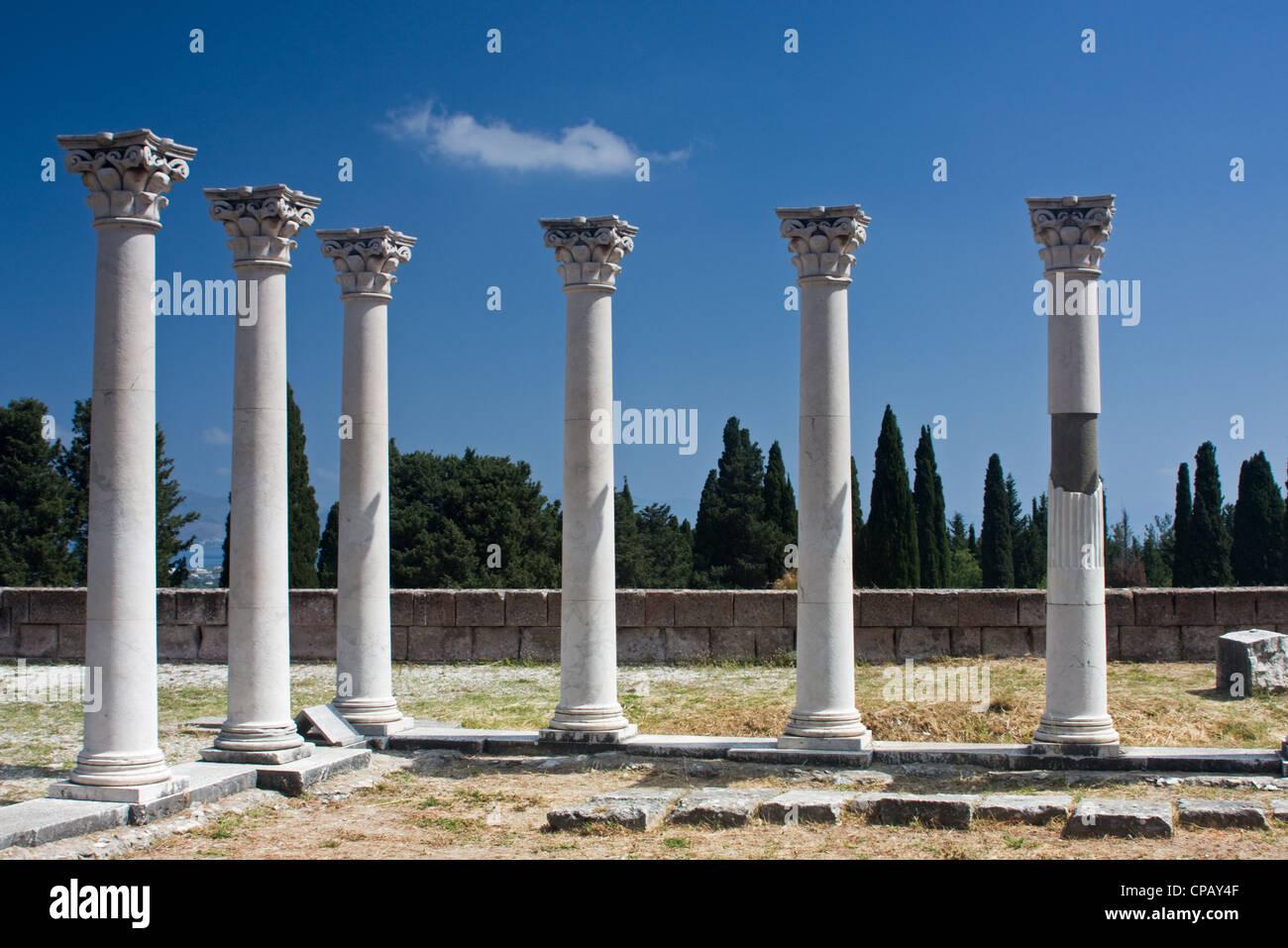 Corinthian columns of the Asklepion on the greek island Kos - Stock Image
