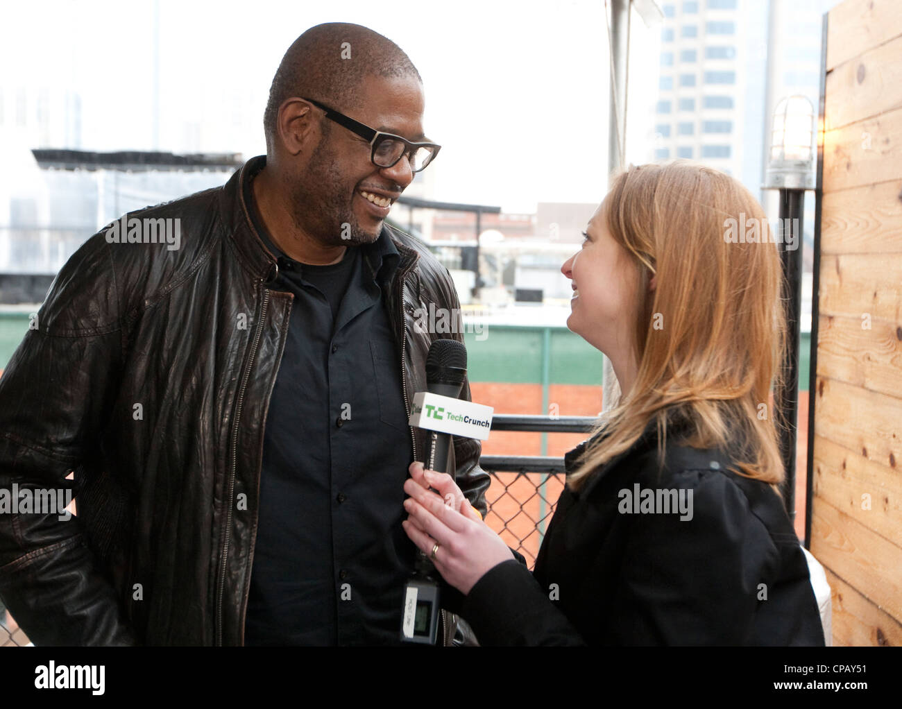 Texas born American Academy Award winner Forest Whitaker, speaks to reporter at SXSW event in Austin, Texas - Stock Image