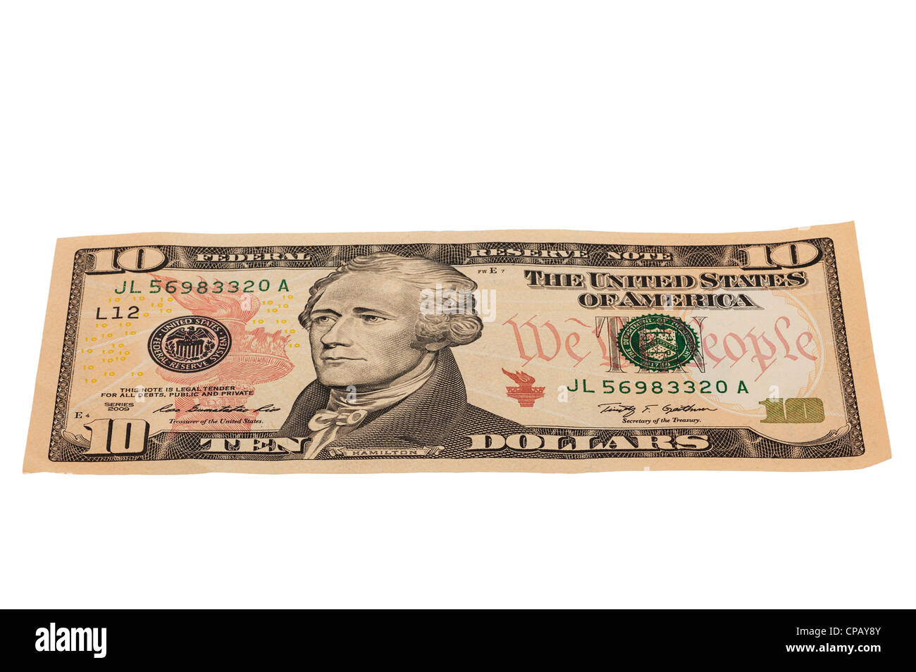 A 10 dollar note from America on a white background - Stock Image