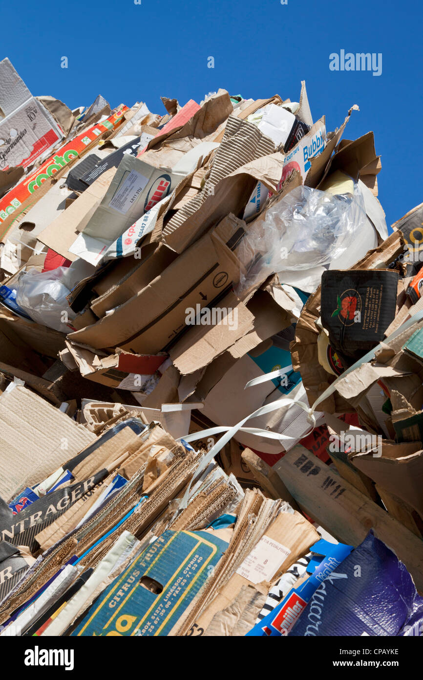 waste paper and cardboard stacked for recycling ready for collection - Stock Image