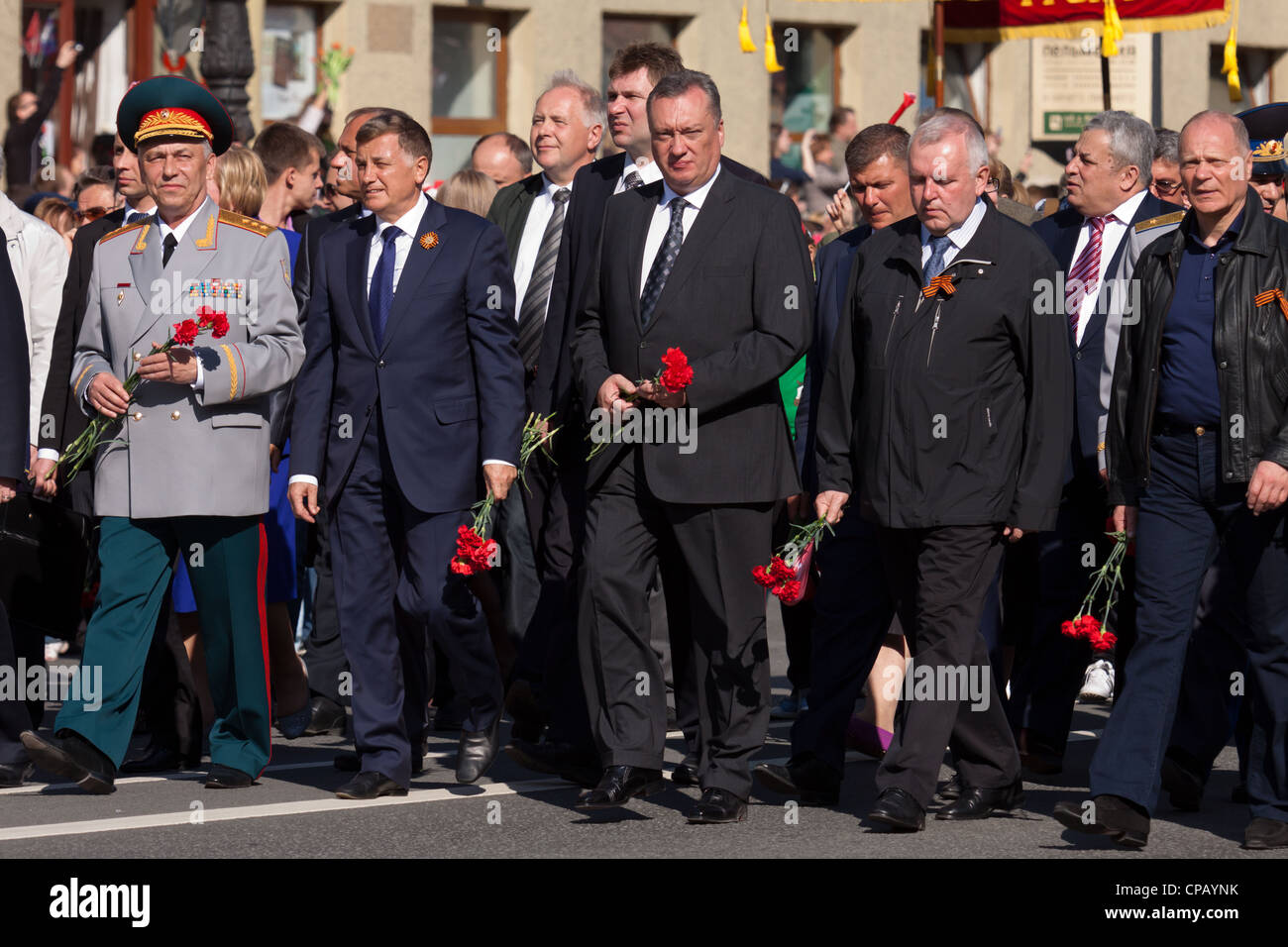The parade of veterans of World War II on the Nevsky Prospect, St. Petersburg, Russia, May 9, 2012. The first line Stock Photo