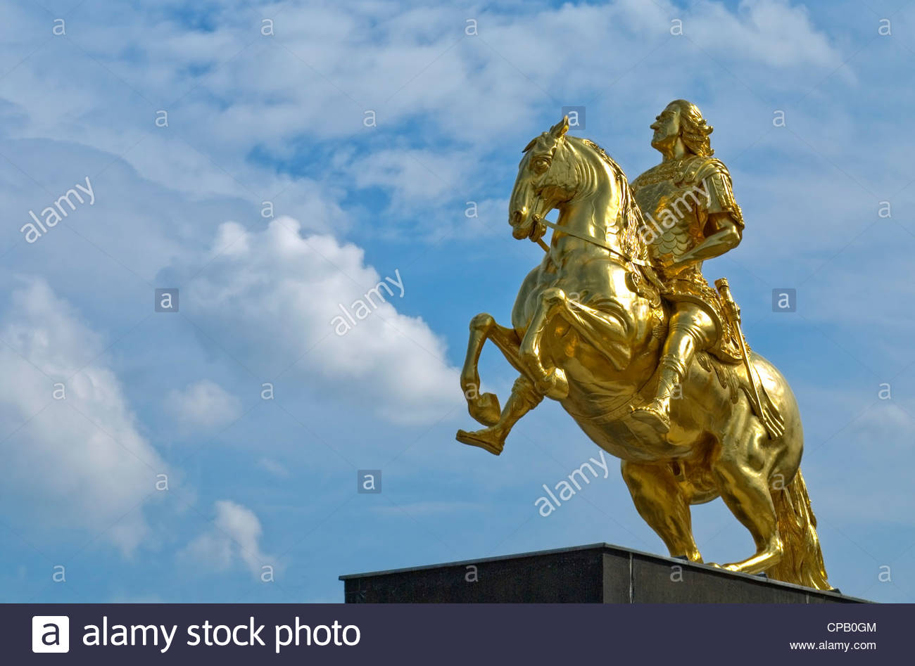 Golden Rider, Golden Gilded equestrian statue of King August the Great by Ludwig Wiedemann, Dresden, Germany - Stock Image