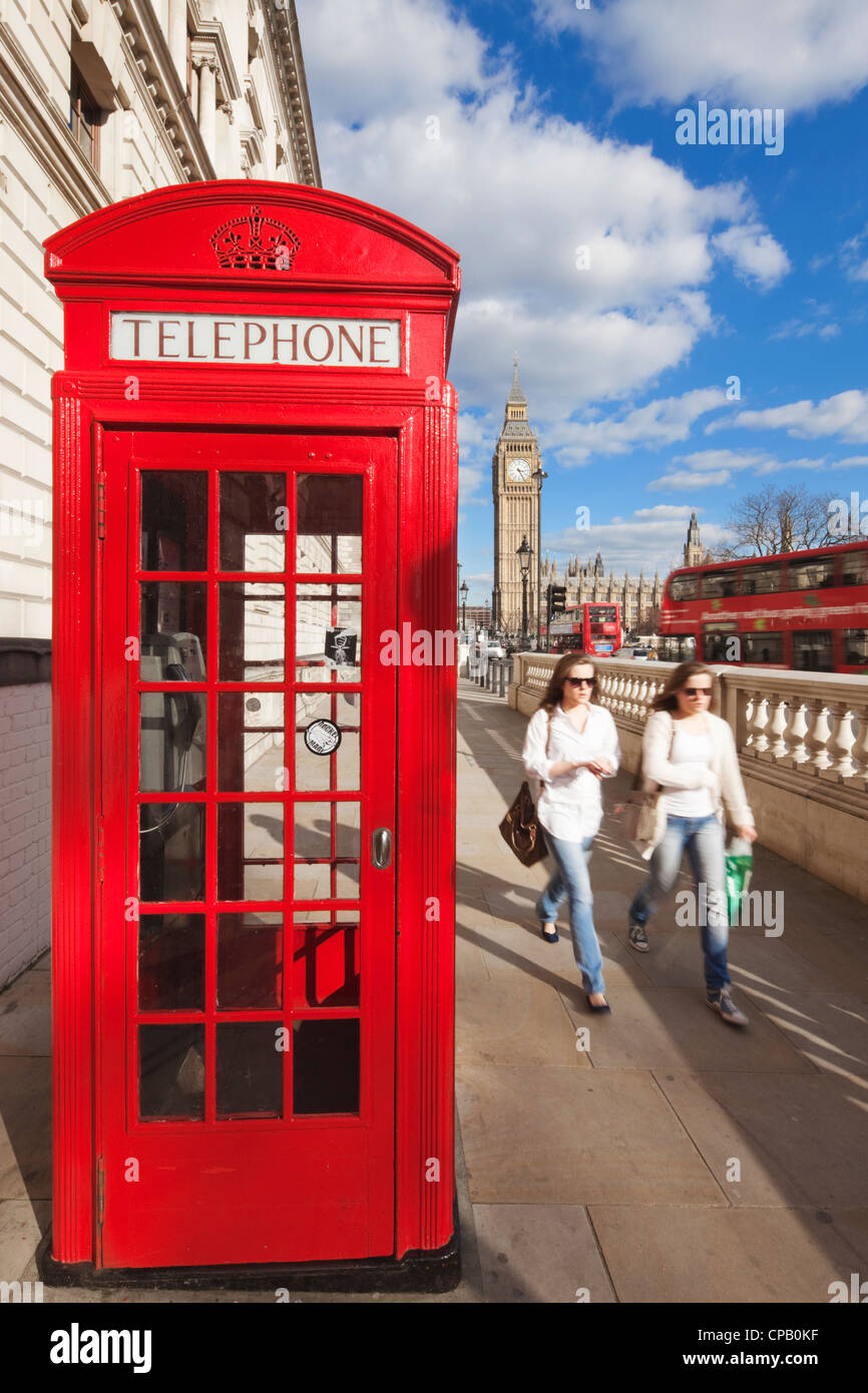 Red phone box and Big Ben: London: England - Stock Image