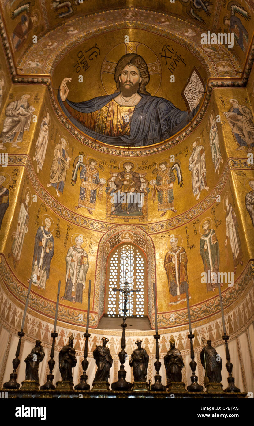 Christ Pantocrator Monreale Cathedral Palermo Sicily - Stock Image