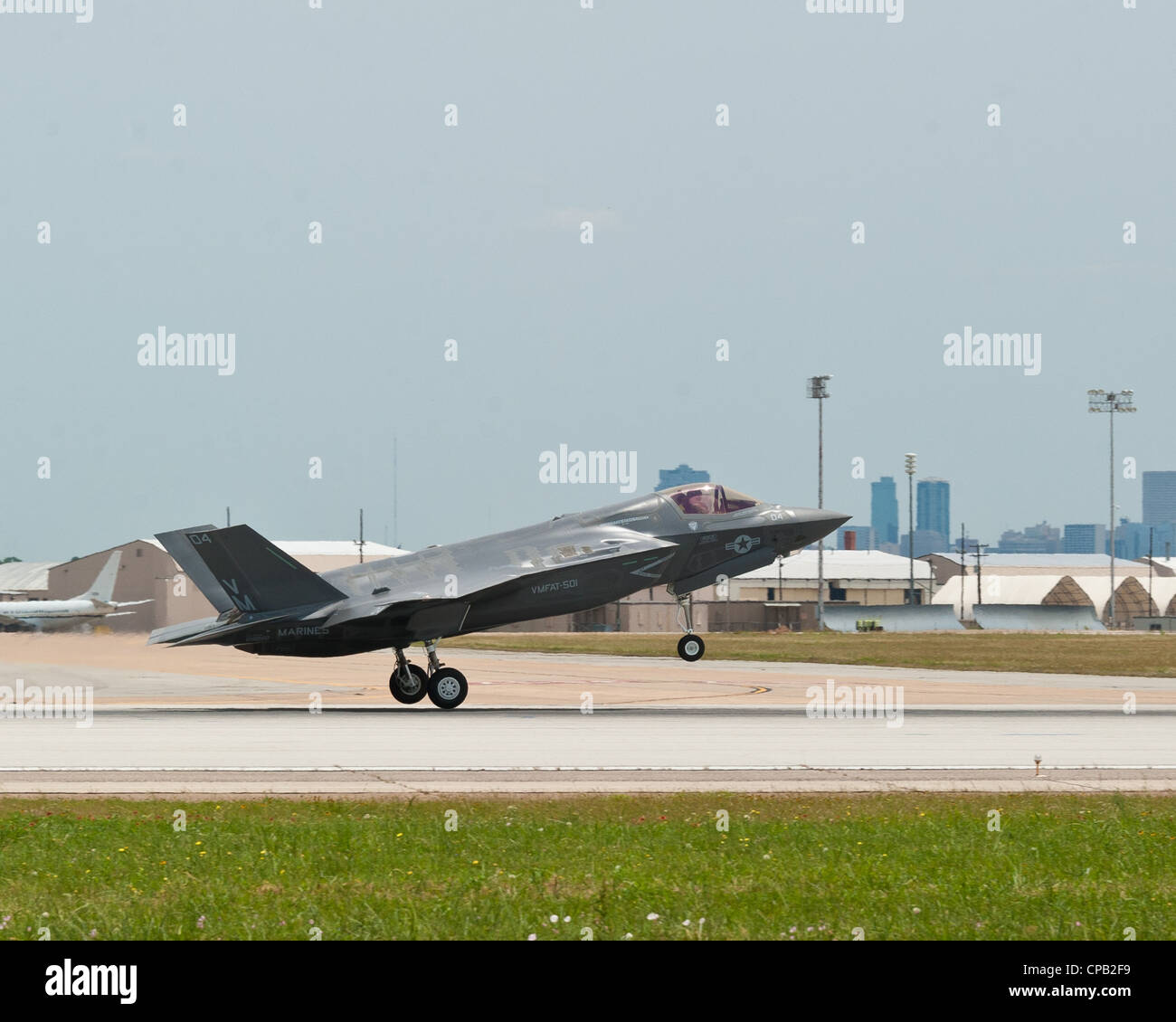 F-35B Lightning II aircrafts four and five departed Naval Air Station Fort Worth Joint Reserve Base, Texas, for - Stock Image