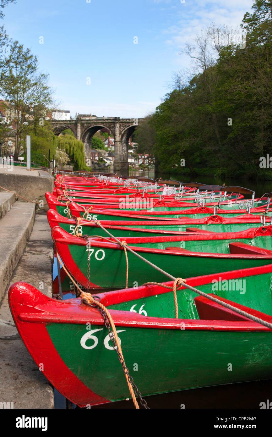 Rowing Boats on the River Nidd at Knaresborough North Yorkshire England - Stock Image