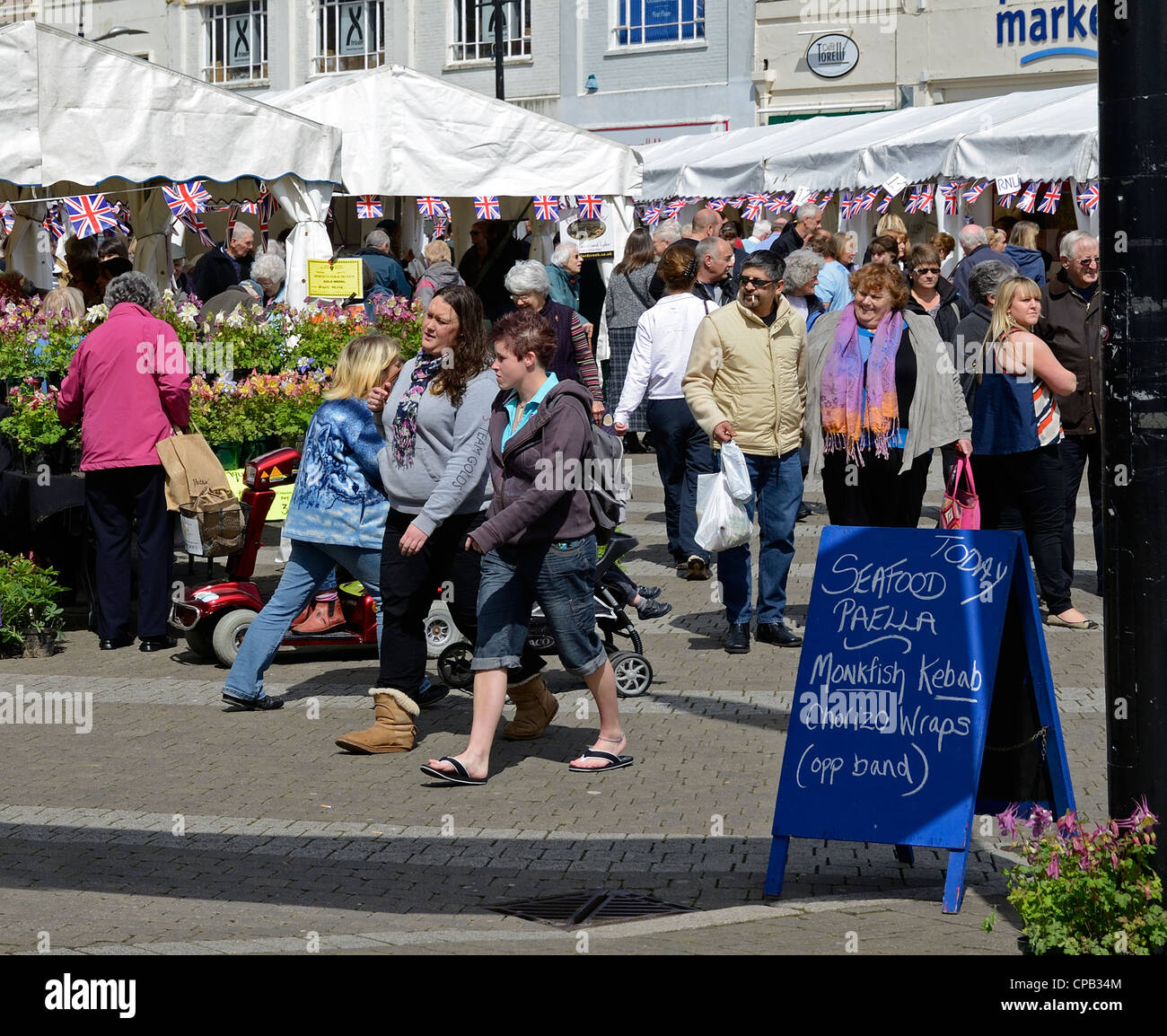 A busy market day in Truro, Cornwall, Uk - Stock Image