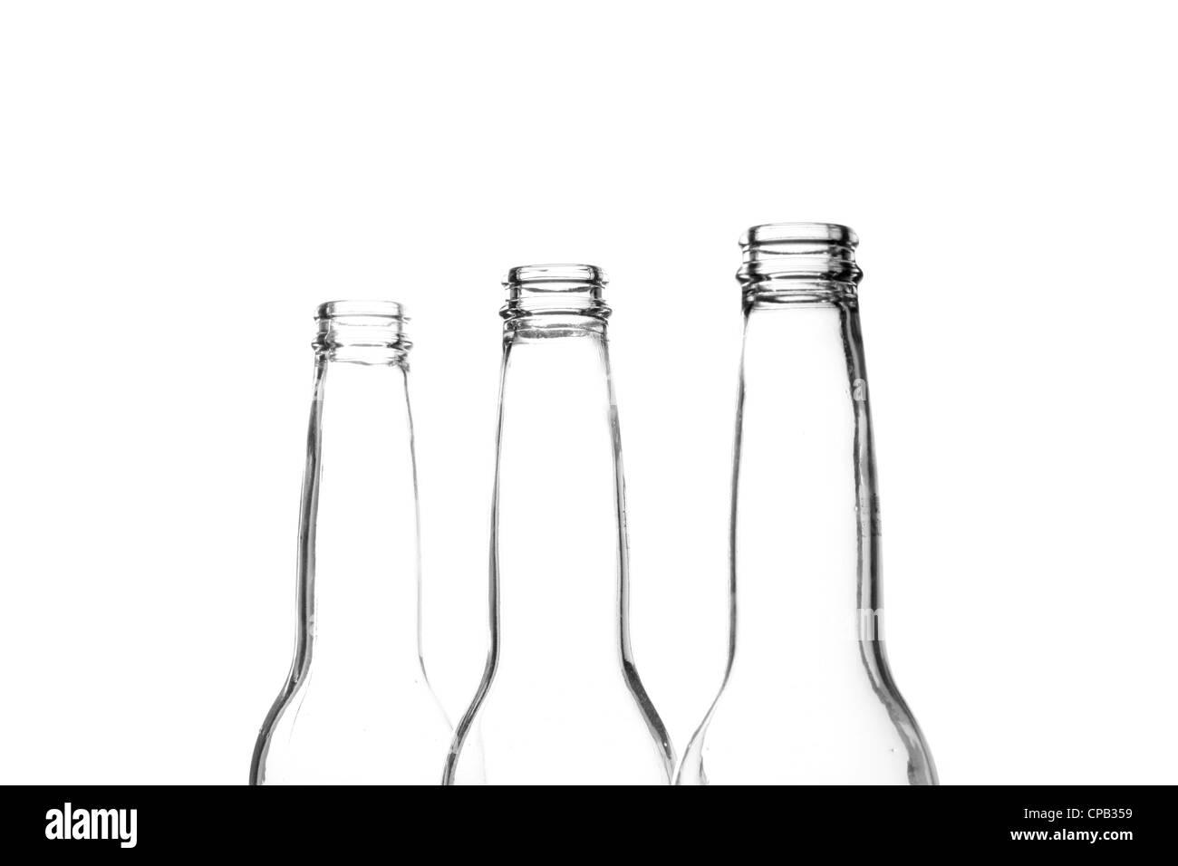 Three beer bottle necks on white Stock Photo