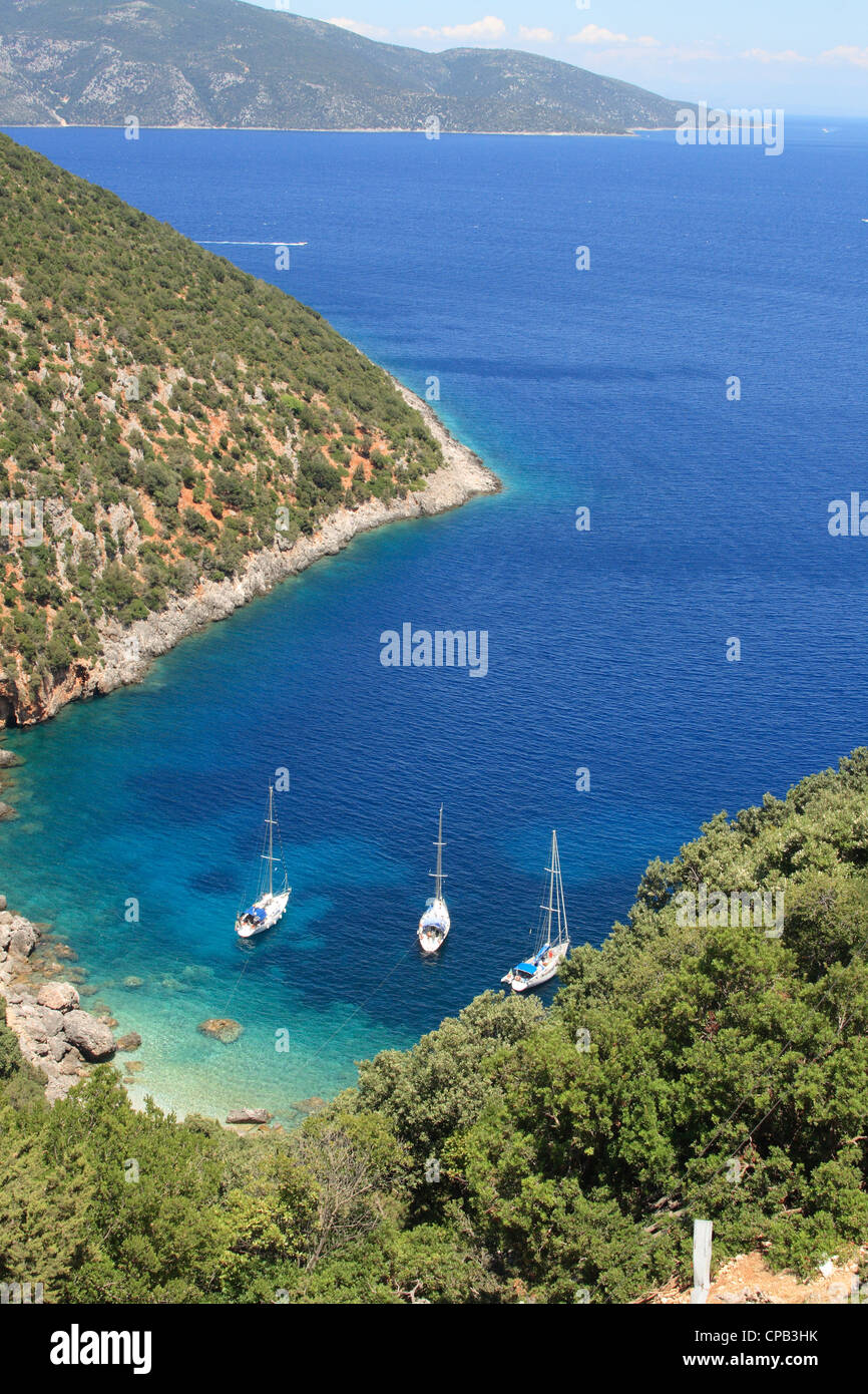 Sailing boats in a secluded bay near Sami, kefalonia, greece, 'ionian, islands' - Stock Image