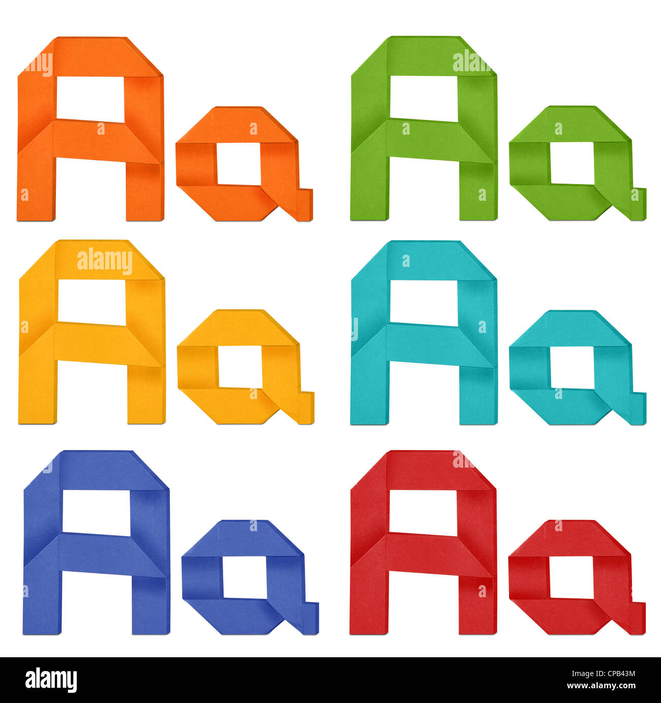 Set of capital letter and lowercase letter 'A' in various color. Origami alphabet letter on white background. - Stock Image