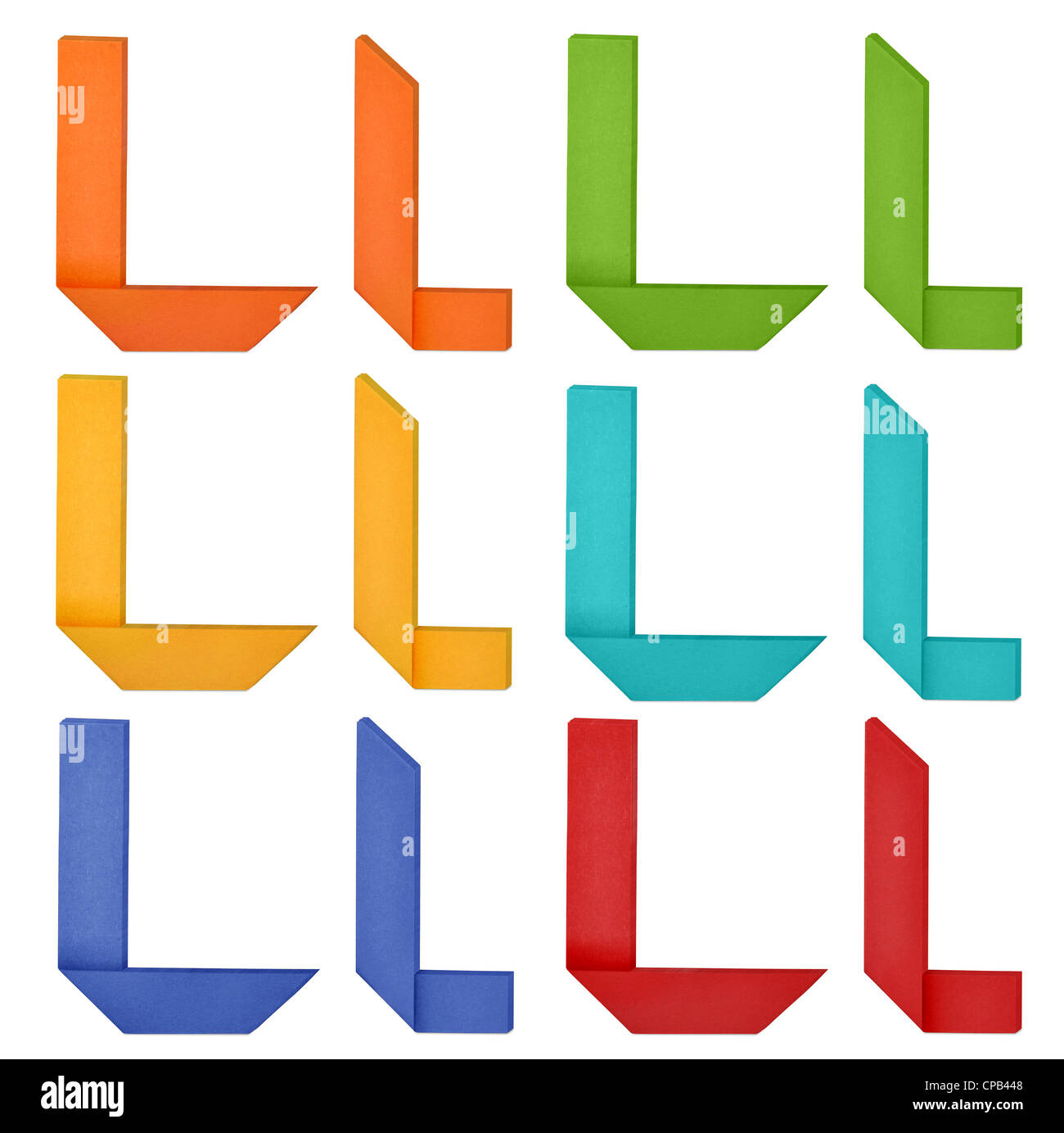 Set of capital letter and lowercase letter 'L' in various color. Origami alphabet letter on white background. - Stock Image